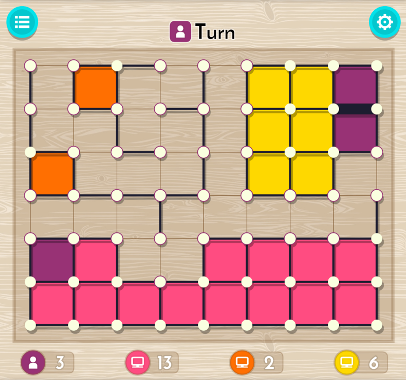 """dots and boxes gameplay"" title=""dots and boxes gameplay screen"""
